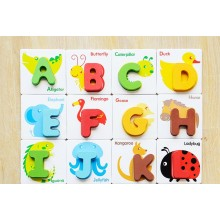 BRITISH CARD ABC WOODEN BLOCK - 26 CHARACTER As Shown on Picture