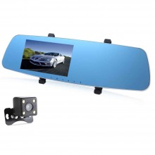 5 INCH DUAL LENS CAR DVR REAR-VIEW MIRROR FULL HD 1080P VEHICLE TRAVELING DATA RECORDER Black