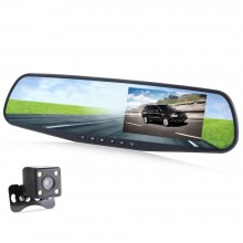 4.3 INCH DUAL LENS CAR DVR REAR-VIEW MIRROR FULL HD 1080P VEHICLE TRAVELING DATA RECORDER Black