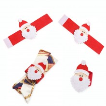 4PCS CHRISTMAS SANTA CLAUS NAPKIN RING HOLIDAY DINNER TABLE (COLOURMIX) Colour Mix