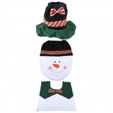 SNOWMAN TOILET SEAT COVER RUG SET CHRISTMAS BATHROOM DECORATION (COLOURMIX) Colour Mix