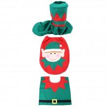 CUTE CHRISTMAS SPIRIT TOILET SET SEAT COVER RUG BATHROOM DECORATION (COLOURMIX) Colour Mix