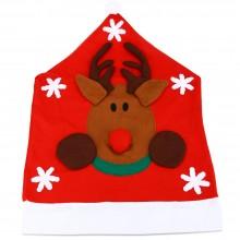 SANTA CLAUS SNOWMAN CHRISTMAS HAT CHAIR COVER (DEER) Deer