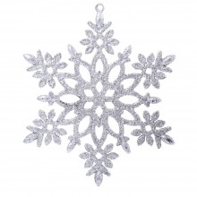 CHRISTMAS GLITTER SNOWFLAKE HANGING DECORATING ORNAMENTS (SILVER) Silver