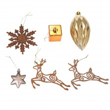 24PCS 6 TYPES BRONZE COLOR HANGING CHRISTMAS HOLIDAY ORNAMENTS (GOLDEN) Golden