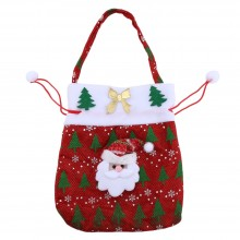 CHRISTMAS SANTA CLAUS / SNOWMAN GIFT DRAWSTRING BAG HANGING DECORATION (RED) Red
