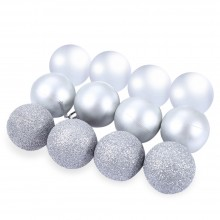 12PCS 4CM CHRISTMAS FESTIVAL DECORATING BALL HANGING ORNAMENTS (SILVER) Silver