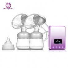 DOUBLE INTELLIGENT ELECTRIC MASSAGE CONVERSION BACKFLOW PROTECTION LARGE LCD DISPLAY BPA FREE BREAST PUMP (PURPLE) White, US Plug
