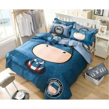 6 in 1 Set Quality 800TC Captain America Bedding Bed Sheet Queen King Size