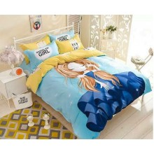 6 in 1 Set Quality 800TC Dandelion Girl Bedding Bed Sheet Queen King Size