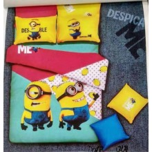 6 in 1 Set Quality 800TC Minions Bedding Bed Sheet Queen King Size