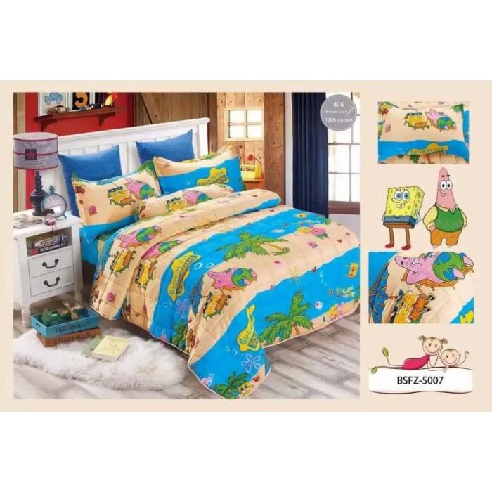 5 in 1 set high quality 800tc spongebob bedding bed sheet super single size - Spongebob Bedroom Set