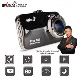 First Scene A902 3.0 inch 1080P Full HD 170 Wide-Angle Car DVR Camera Video Recorder - Black