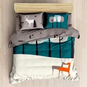 6 in 1 Set Quality 1200TC Jungle Deer Bedding Bedsheet Queen King Size