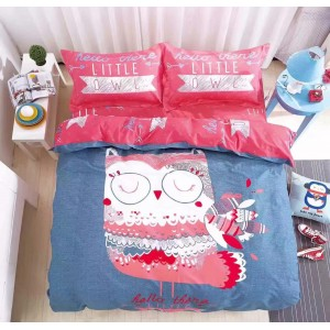 6 in 1 Set Quality 1200TC Pink Little Owl Bedding Bedsheet Queen King Size