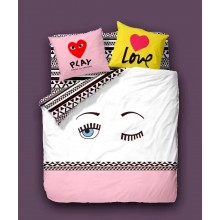6 in 1 Set Quality 1200TC Play Love Bedding Bedsheet Queen King Size