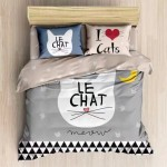Le Chat 6 in 1 Set 1200TC I Love Cats Queen King Size Bedding Bedsheet