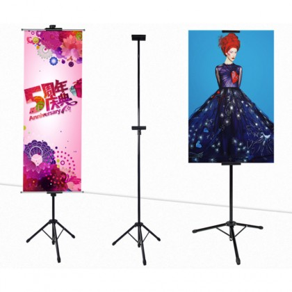 Tripod Poster Roll Up Bunting Banner Double Sided Adjustable Display Stand up to 6ft